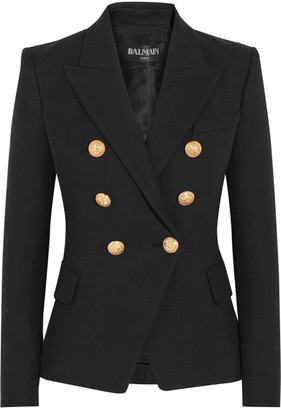 Balmain - Double-breasted Basketweave Cotton Blazer - Black $2,375 thestylecure.com