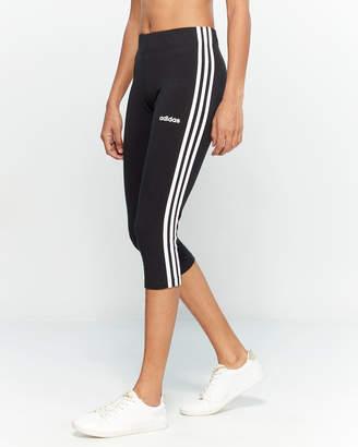 adidas Black & White 3-Stripe Capri Leggings