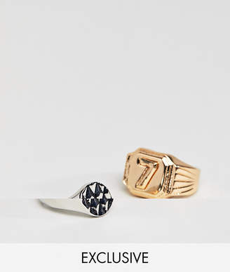 Reclaimed Vintage Inspired Lucky 7 Ring In 2 Pack Exclusive To ASOS