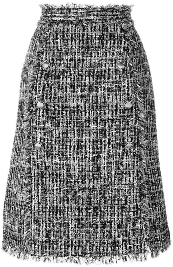 MSGM tweed button skirt