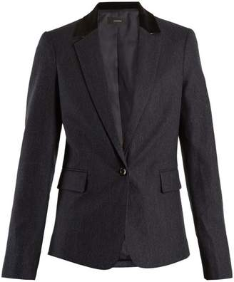 Joseph Prisca Velvet Trimmed Pinstriped Wool Blend Jacket - Womens - Navy