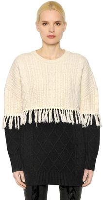 Fringed Wool Cable Knit Sweater $575 thestylecure.com