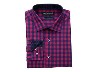 Nick Graham Gingham Print CVC Stretch Dress Shirt