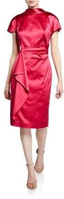 Rickie Freeman For Teri Jon V-Back Cap-Sleeve Satin Sheath Dress with Flounce-Trim