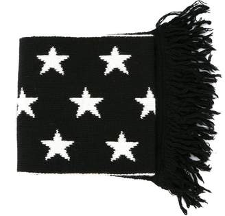 MSGM star pattern fringed scarf