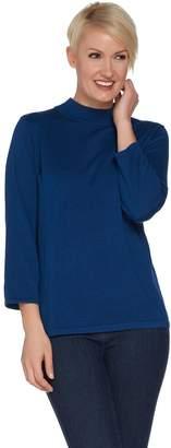 Joan Rivers Classics Collection Joan Rivers Wardrobe Builders Mock Turtleneck w/ 3/4 Sleeves