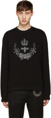 Dolce & Gabbana Black Embroidered Bee Pullover $545 thestylecure.com