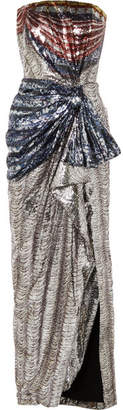 Mary Katrantzou Consort Draped Sequined Crepe Gown - Silver
