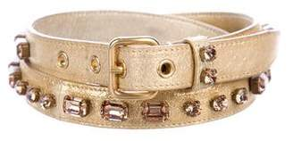 Miu Miu Metallic Embellished Skinny Belt