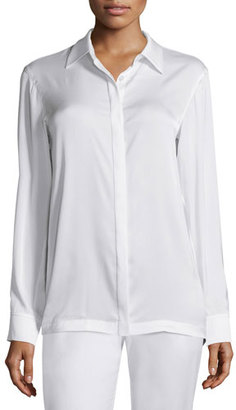 DKNY Long-Sleeve Collared Pleated-Back Blouse, Chalk $445 thestylecure.com