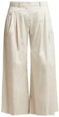 Nili Lotan - Lisbon Wide Leg Cotton Twill Trousers - Womens - White