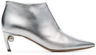 Nicholas Kirkwood silver Mira 55 pearl heel ankle boots