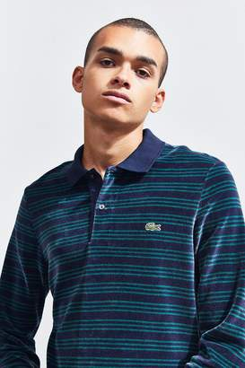 Lacoste Relaxed Fit Striped Velour Long Sleeve Polo Shirt