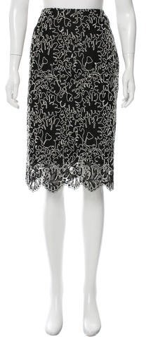 MICHAEL Michael Kors Michael Kors Embroidered Knee-Length Skirt