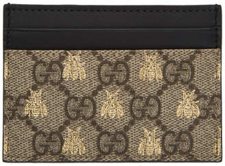 aee7bfc31ff Gucci Beige GG Supreme Bees Card Holder