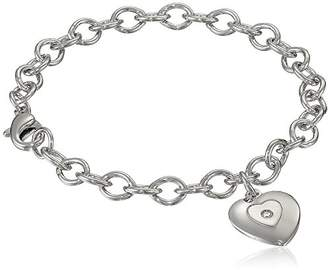 Sterling Silver Pre-Teen Diamond Stamped Heart Charm Bracelet