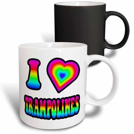 3dRose Groovy Hippie Rainbow I Heart Love Trampolines - Magic Transforming Mug, 11-ounce
