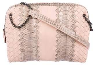 Bottega Veneta Snakeskin-Trimmed Intrecciato Crossbody Bag pink Snakeskin-Trimmed Intrecciato Crossbody Bag