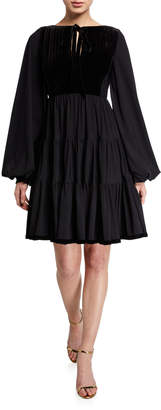 Chiara Boni Tie-Neck Puff-Sleeve Full Skirt Peasant Dress