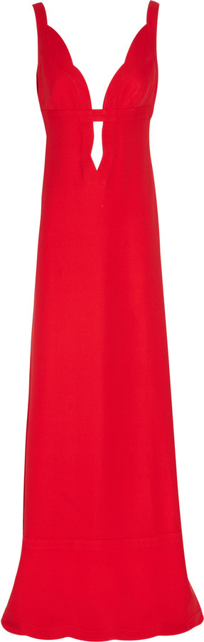 Valentino Plunge-front silk-cady gown