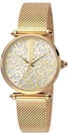 Just Cavalli 32mm Animal Glitter Watch w/ Mesh Strap, Gold