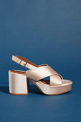 Lola Cruz Silk Platform Heels