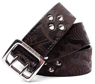 Zadig & Voltaire Buckley Skeleton Studded Leather Belt