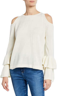 Olivia Pratt Tiered Cold-Shoulder Sweater