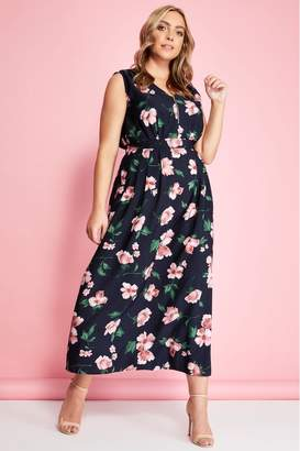 Yumi Womens London Curve Floral Print Maxi Dress - Black