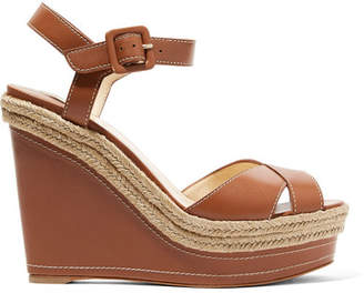 Christian Louboutin Almeria Leather Wedge Sandals - Tan