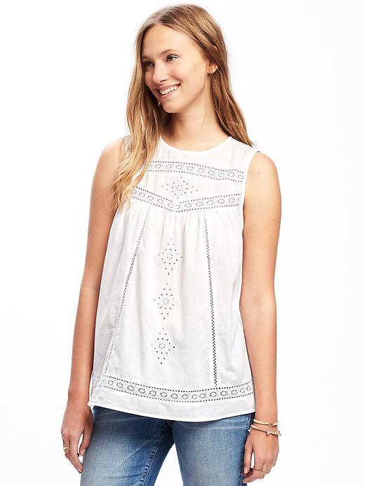 Relaxed Lace-Trim Sleeveless Top for Women