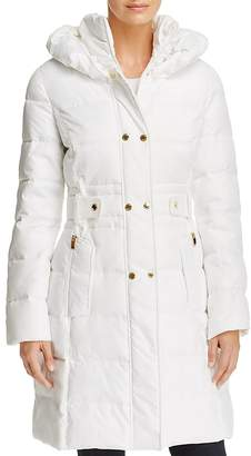 Via Spiga Contrast Placket Puffer Coat