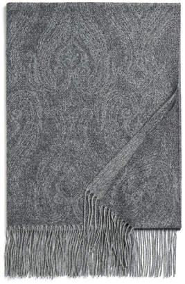Johnstons of Elgin Paisley Shimmer Grey Cashmere-Blend Scarf