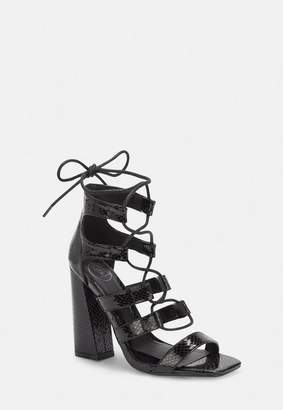 2ad3560948 Missguided Black Faux Croc Flare Heel Ghillie Sandals, Black