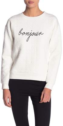 Andrew Marc Puff Knit Graphic Long Sleeve Sweater