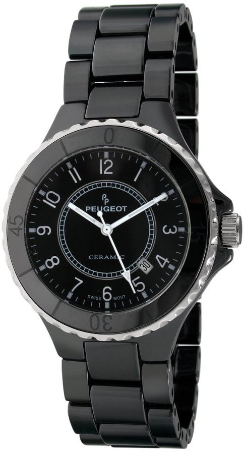 Peugeot Women's PS4884BK Black Genuine Ceramic Swiss Black Dial Watch