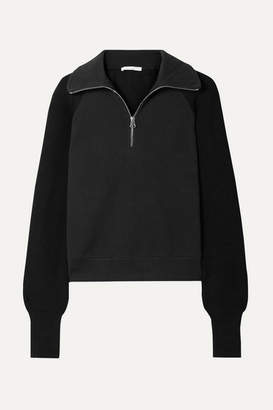Helmut Lang Cotton-terry And Ribbed-knit Sweatshirt - Black