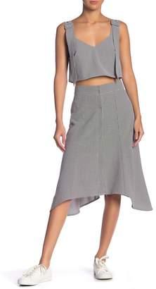 Grey Lab Flowing Hi-Lo Gingham Midi Skirt