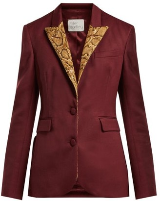 Hillier Bartley - Single Breasted Python Effect Blazer - Womens - Burgundy Multi