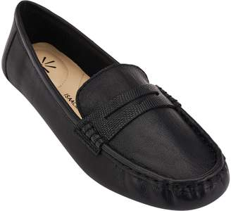 Isaac Mizrahi Live! Leather Moccasins w/ Snake Trim