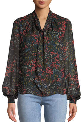 Co Long-Sleeve Tie-Neck Floral-Print Silk Chiffon Blouse