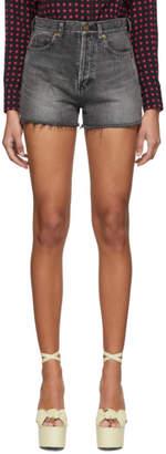 Saint Laurent Black Denim Slim Shorts