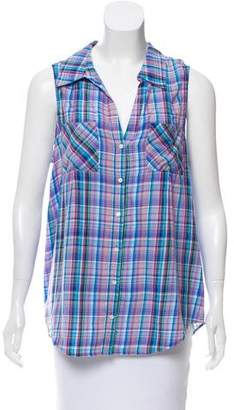Joie Sleeveless Plaid Button-Up