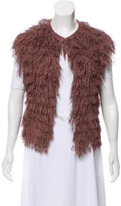 Brunello Cucinelli Fringe-Accented Collarless Vest w/ Tags