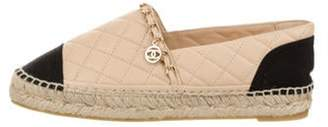 Chanel 2018 Quilted Chain-Link Espadrilles Tan 2018 Quilted Chain-Link Espadrilles