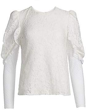 See by Chloe Women's Lace Sheer Sleeve Blouse