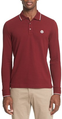 Men's Moncler Tipped Long Sleeve Polo $195 thestylecure.com