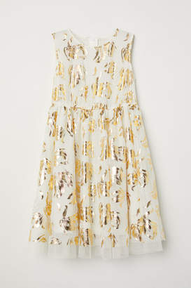 H&M Metallic-print Dress - White