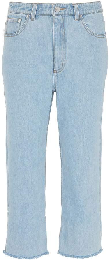 Xu Zhi Fringe back pocket cropped straight leg jeans