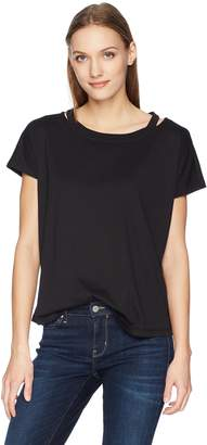 Calvin Klein Jeans Women's Short Sleeve T-Shirt with Cut Out Crew Neck
